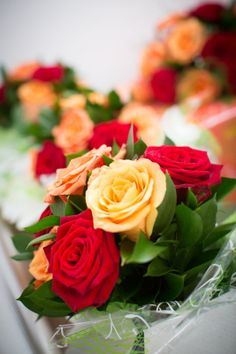 Wedding Flowers, Red and Yellow Roses