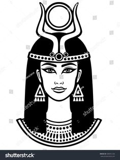 Animation portrait of the beautiful Egyptian woman. Black t… Animation portrait of the beautiful Egyptian woman. Black the white vector illustration isolated on a white background. Print, poster, t-shirt, tattoo. Goddess Isis Tattoo, Isis Goddess, Egyptian Women, Ancient Egyptian Art, Egyptian Drawings, Cartoon Drawings Of Animals, Egypt Art, Animation, African Art