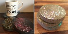 Concrete Coasters with Chunky Glitter