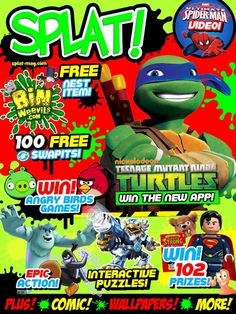 Issue three of SPLAT! is out now on Newsstand!  Not only does it have 100 free swapit points for every reader, there's a free Bin Weevils Nest Item, and free wallpapers!  Issue three is packed with tons of interactive fun, including Skylanders, Disney Infinity, Club Penguin and Pokémon! And there are over 100 prizes to win too – including Teenage Mutant Ninja Turtles Apps, Angry Birds K'Nex sets, crazy Smasha-Ballz, and Man Of Steel LEGO sets! #ipad #kids