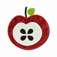 7e0de0eea0f Red Apple Slice Includes Both Applique and Filled Stitch