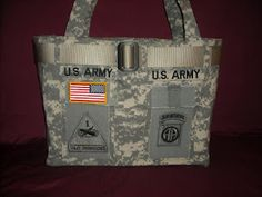 ACU Bag. I'd love to make some. I've made wreaths and other stuff from my hubby's torn up acu and stained acus. Now..... Time to make these!!!!!!!