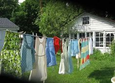 Clean Laundry drying on a line.