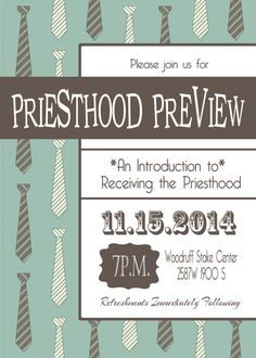 LDS Priesthood Preview Printable Invitation 5x7 or 4x6