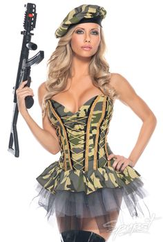 Summitfashions Sexy Solider Plus Size Costume Womens Army Camouflage Bustier Dress and Hat Sexy Army Costume, Military Costumes, Police Costumes, Bustier Dress, Strapless Dress, Plus Size Costume, Rave Girls, Army Print, Hollywood Dress