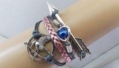 MockingJay braceletshunger braceletsleather by jewellrydesign, $9.99