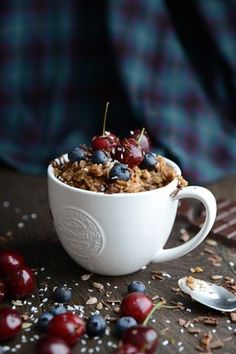 Warm, cosy, caffeine-filled breakfast on a chilly morning topped with cherries, chocolate, blueberries and seeds; count me in.