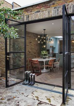 44 New Ideas For Apartment Therapy Patio House Tours Crittal Doors, House Extensions, Interior Exterior, Exterior French Doors, French Doors To Patio, 1930s House Exterior, Black French Doors, French Patio, Rustic Exterior