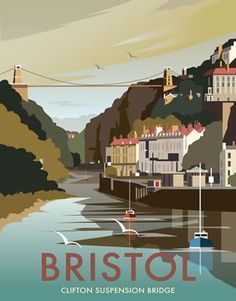 Clifton Suspension Bridge, Bristol. By Illustrator Dave Thompson wholesale fine art print
