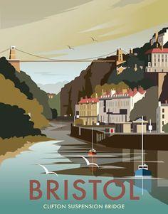 Clifton Suspension Bridge, Bristol. By Illustrator Dave Thompson wholesale fine art print