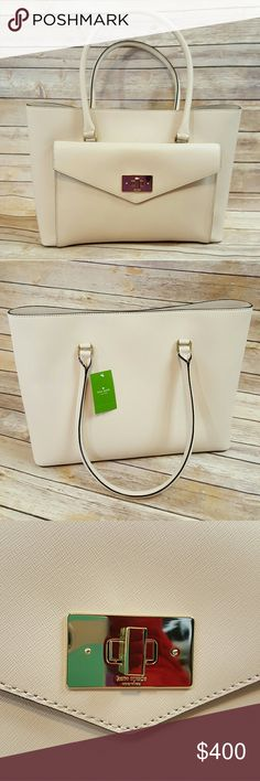 "NWT Kate Spade ? Post Street Halsey! ? 11 5/16"" x 15 3/16"" x 6"" ? 7 1/2"" handle drop ? Magnetic snap closure ? Exterior front envelope pocket with turnlock closure ? Inner zip pocket ? 2 inner slip pockets ? colour: pumice kate spade Bags"