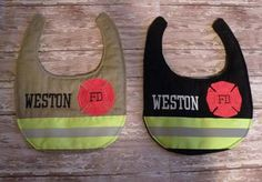 Firefighter Baby Personalized matching bib with by SimplySweetByB