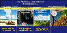 Avail now. For more inquiries, please like our fb page www.facebook.com/mizzadventurestravel Puerto Princesa, Bohol, Fb Page, Adventure Travel, Packaging, Tours, Facebook, Country, Rural Area