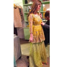 Trials in the studio ✨ . Pakistani Mehndi Dress, Bridal Mehndi Dresses, Walima Dress, Pakistani Wedding Outfits, Pakistani Bridal Dresses, Pakistani Wedding Dresses, Pakistani Dress Design, Indian Dresses, Mehendi