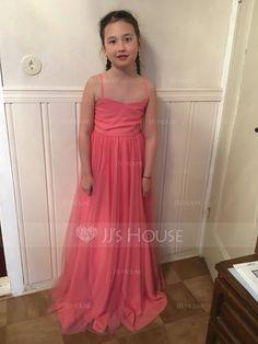 A-Line/Princess Sweetheart Floor-Length Tulle Junior Bridesmaid Dress (009087886) - JJsHouse