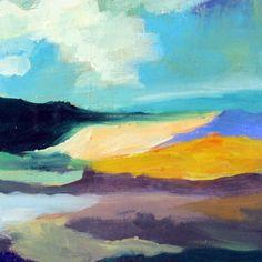 wanderlust painting, original art, abstract landscape, cloud painting, boho art, one of a kind  art, gift for her, horizon painting, modern de MariaMazaPaintings en Etsy