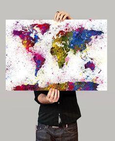 Watercolor World Map Art Print, Splash World Map, Wall Art Watercolor World Map Poster, Large Map Art Painting (40) #artpainting