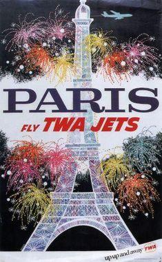 Twa Airlines Paris Eiffel Tower Puzzle Fun-Size 120 pcs
