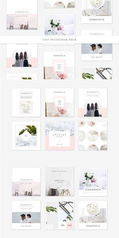 Lily Instagram Pack by Swiss_cube Instagram Grid, Instagram Design, Free Instagram, Instagram Quotes, Instagram Posts, Branding, Identity, Instagram Post Template, Flyer