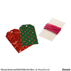 Glossy Green and Red Polka Dot Reversible Gift Tags