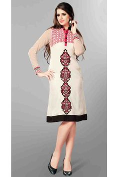 Shibori Off White Readymade Kurti - Sleeves: FullPattern: SolidInner: Poly SantoonFabric: GeorgetteColor: Off WhiteCategory: KurtiCare Info: Machine wash 40 degree gentle cycle, wash in. Indian Dresses, Indian Outfits, Suits For Women, Clothes For Women, Indian Clothes Online, Embroidered Kurti, Designer Salwar Suits, Kurta Designs, Indian Wear