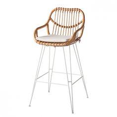 Bar Chair Tarras (including seat cushion) - Rattan / Metal - Rattan / White
