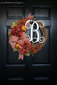Fall Monogram Grapevine Wreath with Red Chevron by WreathDreams
