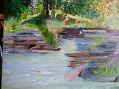 Cliff jumping Original Acrylic by Connie Crabtree