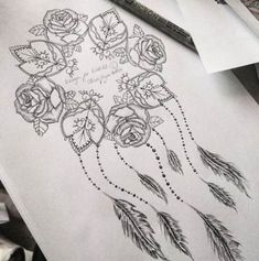 rose and mandala dream catcher with quote tattoos - dream catcher tattoo sketch Pretty Tattoos, Cute Tattoos, Leg Tattoos, Beautiful Tattoos, Flower Tattoos, Body Art Tattoos, Sleeve Tattoos, Tatoos, Hand Tattoo