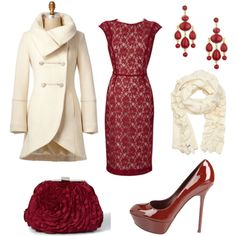 red dress cream coat