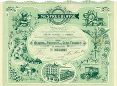 Etablissements Mestre & Blatgé Fournitures Générales pr. Automobiles & Cycles Société Anonyme, Paris, 8 April 1921, Action de Priorité de 100 Francs, #44806, 23.6 x 32.5 cm, green.