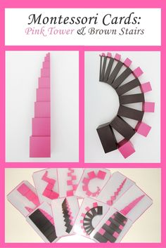 Free Pink Tower Brown Stairs Cards