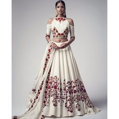 Buy White Floral Embroidered Banglori Silk Semi Stitched Lehenga Choli online in India at best price.Product ID 1075363 Type Lehenga choli Returns 7 day Refund Policy Shipping Available Worldwide Package Indian Fashion Trends, India Fashion, Asian Fashion, Indian Wedding Outfits, Indian Outfits, Indian Attire, Indian Wear, Moda India, Hippy Chic