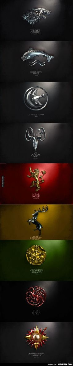of Thrones House sigils and mottos Game of Thrones House sigils and mottos - how much of a nerd am I that this gave me chills?Game of Thrones House sigils and mottos - how much of a nerd am I that this gave me chills? Winter Is Here, Winter Is Coming, Geeks, Game Of Trone, My Sun And Stars, Iron Throne, Game Of Thrones Fans, Valar Morghulis, Fire And Ice