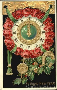 red roses around clock