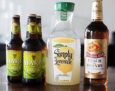 3 beers, 4 cups lemonade, 1/2 peach brandy= summer shandy that is TDF