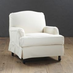Rebecca Chair Slipcover --- My #29 Favorite Ballard Pick. I love how cozy and comfortable this chair would be in a family room. I love it in the colors of Everyday Linen Natural and Linen Spa. If pared with the Rebecca ottoman this chair and ottoman are better than a recliner. It's the kind of chair a Momma and her small children could sit in and read for hours. Super comfy and super cute!