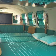 VW bedtime bus aqua green