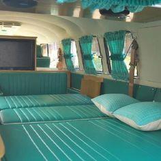 VW bedtime bus aqua green