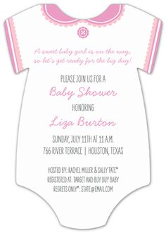 Classic White Girl #Onesie Invitation #Baby Shower Invitations for Girls