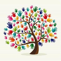Clipart of Colorful solidarity hand tree - Search Clip Art, Illustration Murals, Drawings and Vector EPS Graphics Images -