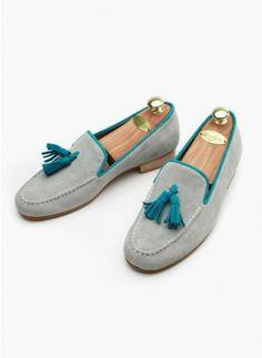mens Custom-made Dali Suede Tassel Loafer-Gray at Fabrixquare