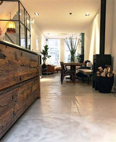 Don't like the brush marks/pattern Concrete Kitchen Floor, Concrete Floors, Kitchen Flooring, Flat Interior, Interior And Exterior, Flooring For Stairs, Polished Concrete, Smooth Concrete, Ranch Style Homes
