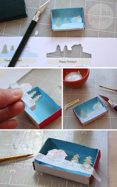 Tiny Holiday Matchbox Greetings and Place Cards Christmas Place Cards, Christmas Decorations For Kids, Christmas Projects, Holiday Crafts, Christmas Crafts, Christmas Holidays, Diy Arts And Crafts, Crafts To Do, Crafts For Kids