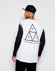 """Long sleeved T-shirt by HUF Soft-touch jersey Crew neck Contrast sleeves Printed design Regular fit - true to size Machine wash 100% Cotton Our model wears a size Medium and is 185.5cm/6'1"""" tall"""