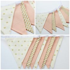 Gold Peach Cream Fabric Bunting Banner by PicturePerfectSoiree