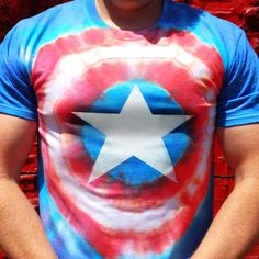 Captain America Tie Dye Shirt Captain America Shirt, Capt America, Cool Tie Dye Shirts, Cool Ties, Tye Dye, Diy Tie Dye Designs, Avengers Shirt, Independance Day, Tie Dye Rainbow