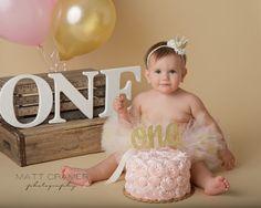 SMASH CAKE OUTFIT Tutu and Crown Set Ivory Gold and Pink