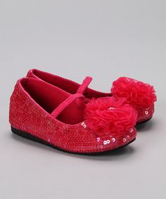 Take a look at this Hot Pink Sequin Puff Flat by Cupid's Cuties: Kids' Apparel & Accents on #zulily today!