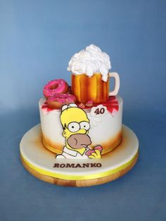 Homer Simpson birthday name - cake by Layla A 16th Birthday Cake For Girls, Cartoon Birthday Cake, 16 Birthday Cake, Bolo Simpsons, Simpsons Party, Homer Simpson, Cake Cookies, Cupcake Cakes, Dad Cake